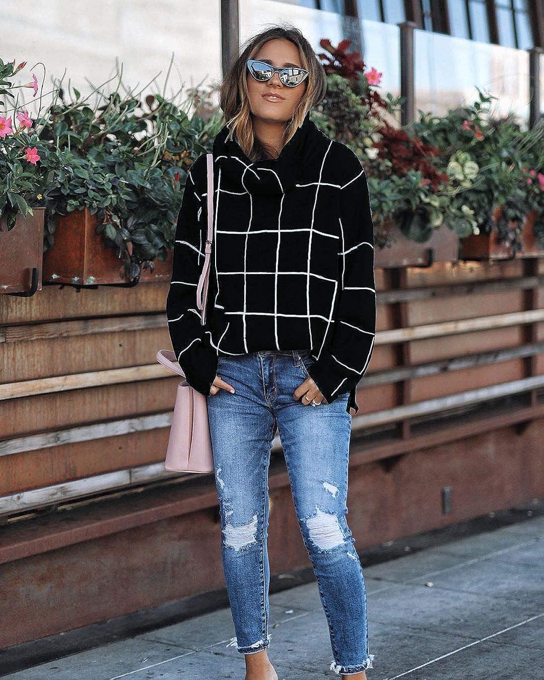 Hiistandd Damen Pullover Farbblock Langarmshirt Kurze Länge Gestrickt Sweatshirt Casual Lose Oberteile Oversize Stil1-schwarz