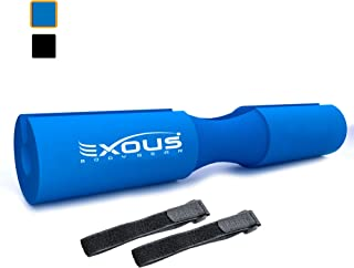 EXOUS BODYGEAR Barbell Pad Squat Bar Thick Foam Cushion - Protector for Neck & Shoulders - Fits Olympic Weight Lifting Bar - Velcro Straps for Non Slip Fit
