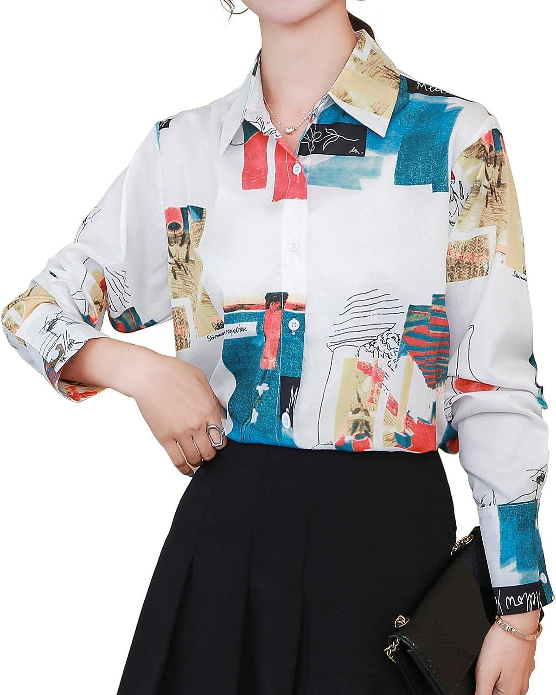 Womens Button Down Shirts Long Sleeve Chain & Baroque Print Vintage Blouse
