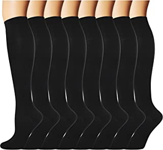 8 Pairs Compression Socks Men Women 20-30 mmHg Compression Stockings for Sports (Black(8 Pairs), Large/X-Large)