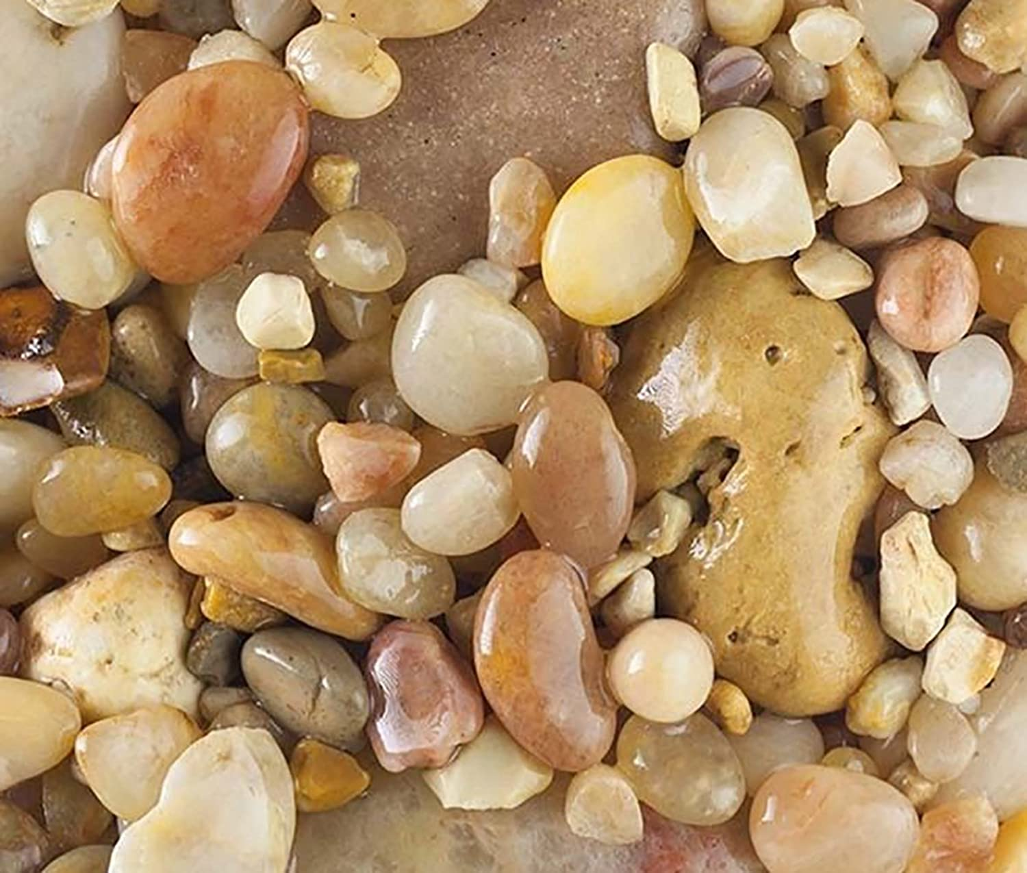 Safe & NonToxic {Various Sizes} 20 Pound Bag of Gravel, Rocks & Pebbles Decor for Freshwater Aquarium w Earthy Toned Smooth Polished Sleek River Inspired Natural Style [Tan & White]