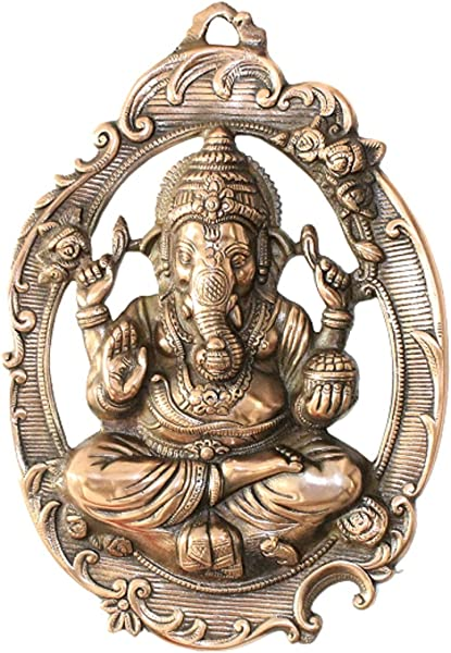 APKAMART Lord Ganesh Wall Hanging Ganpati In Oval Plate 16 Inch Wall Showpiece For Wall Decor Room Decor Home Decor And Gifts