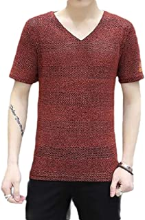 MK988 Men's Casual Slim Fit Short Sleeve Plus Size Hollow Out V-Neck T-Shirt Tee Top