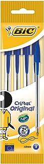 BiC Cristal medium - Bolígrafo de punta redonda, color azul, pack de 4 unidades