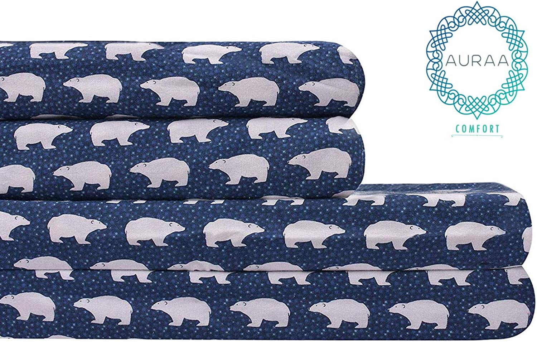 AURAA Comfort 100% Cotton 160 GSM Velvet Flannel,Supreme Comfort, Warm & Fuzzy 4 Piece Bedding Set,King Sheets,Upto 16  Deep Pocket, Polar Bears