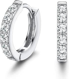 Hoop Earrings Sets with Swarovski Crystal for Women 925 Sterling Silver Huggie Hoop Earrings Gifts for Girlfriend Mother