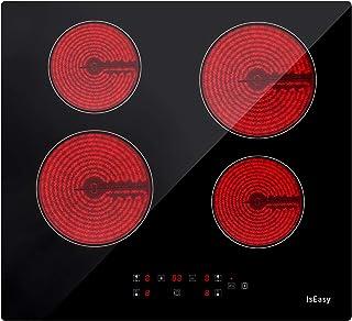 4 Foyers Plaque de cuisson Vitrocéramique Electrique- (6000W, 60cm, Encastrable, Intégré, Autarkic, Tactile, Minuteur, Ver...