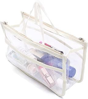 HOYOFO Clear Handbag Organizers Travel Makeup Toiletry Storage Bag Purse Insert, Beige