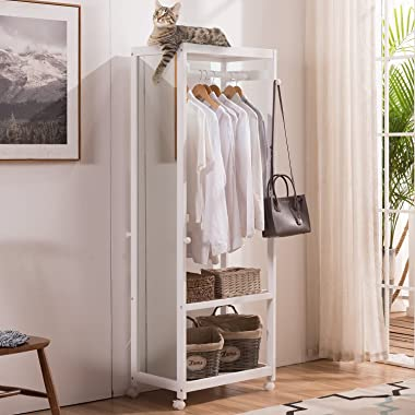 Vlush Free Standing Armoire Wardrobe Closet with Full Length Mirror, 67'' Tall Wooden Closet Storage Wardrobe with Br