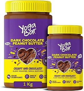 Yogabar Dark Chocolate Peanut Butter| Creamy & Chocolatey | Slow Roasted | Non-GMO Premium Peanuts | 1kg and 400gm Combo