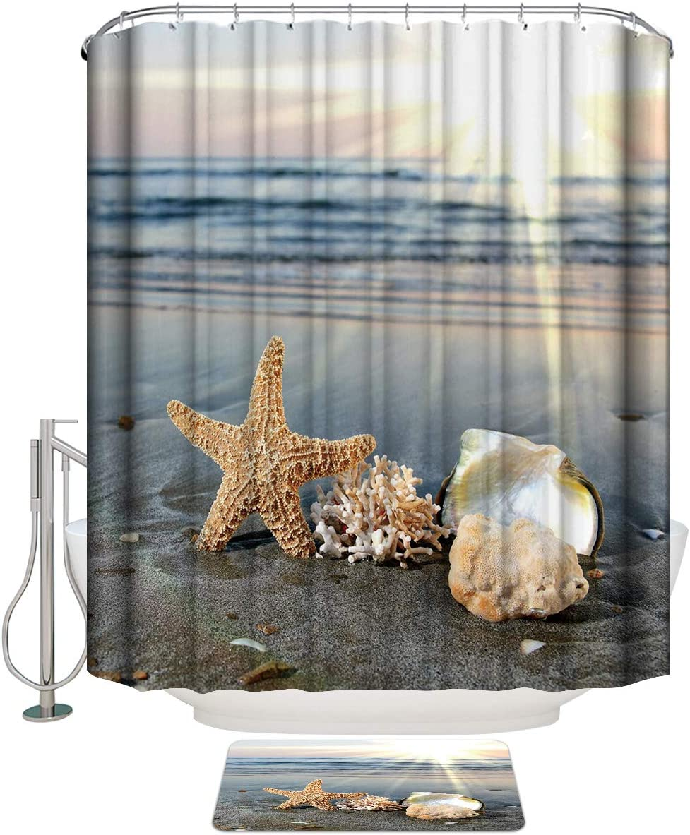 Surprise price COLORSUM Shower Curtain Sets with Non-Slip The Shine Long Beach Mall Rugs Sun on