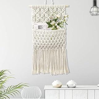 Macrame Wall Hanging Tapestry,Wall Decor Chic Handmade Cotton,Woven Bohemian Home Decoration,Magazine Storage Organizer Ta...