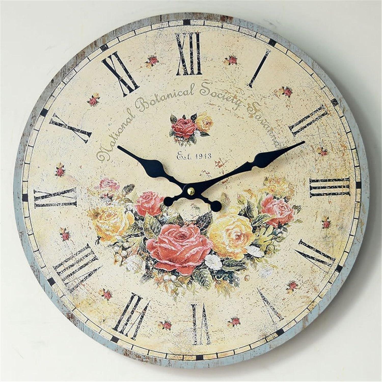14  Retro Round Roman numerals Wall Clock Nostalgia Frameless painting Wood Mute Decoration Clock(Flowers)