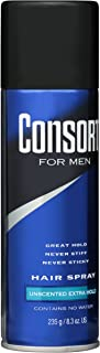 Consort For Men Hair Spray Unscented Extra Hold 8.30 oz (Pack of 2)