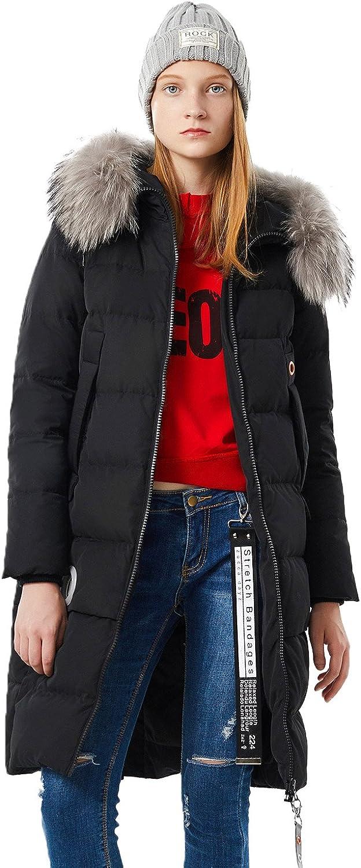 BOSIDENG Women's Winter Down Jacket Thicken Straight Overknee Fur Hooded Outerwear