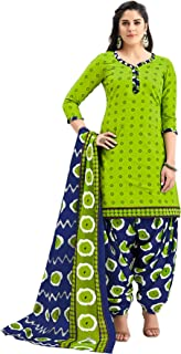 S Salwar Studio Women's Parrot Green & Blue Cotton Printed Readymade Salwar Suit Set(SS-SHREE-GANESH-5108_Green_L,XL,XXL)