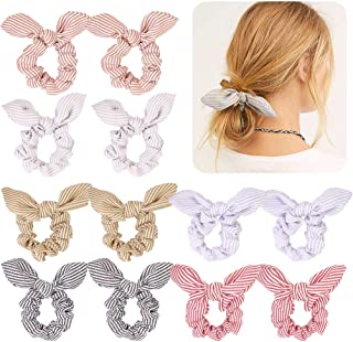 (12 PCS Stripe & Plaid) - 12Pcs Hair Scrunchies Striped Bunny Bow Ear Elastic Hair Ties Ponytail Holder Ropes Bowknot Scru...