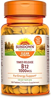 Sundown Vitamin B-12, Energy Support, Vegetarian, Vegan-Friendly 1000 mcg, ) Non-GMO, Free of...