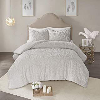 Madison Park Laetitia Comforter Reversible Cotton Chenille Floral Botanical Medallion Tufted Fringe Soft Overfilled Down Alternative Hypoallergenic All Season Bedding-Set, Queen, Grey (Renewed)