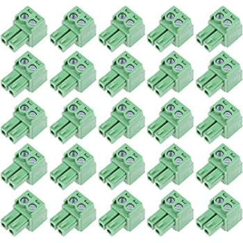 uxcell 10Pcs AC300V 10A 3.81mm Pitch 6P Flat Angle Needle Seat Insert-In PCB Terminal Block Connector green
