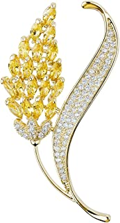 Mecool Broche Broche de trigo, síntesis brillante, circonitas cúbicas, para mujer, oro
