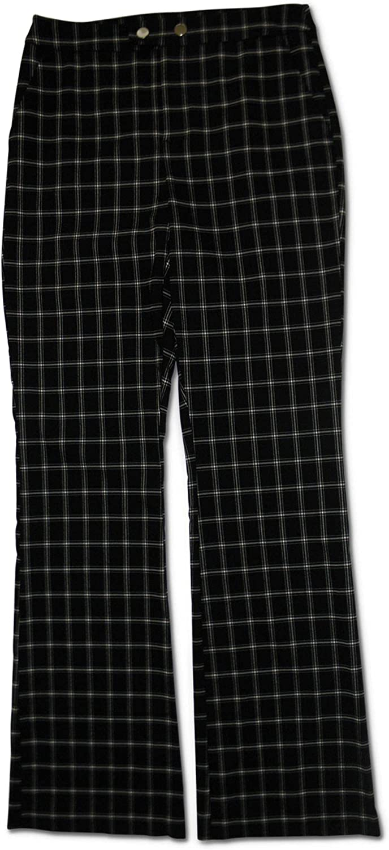 Inc Windowpane Plaid Bootcut Pants, Black Plaid, 10