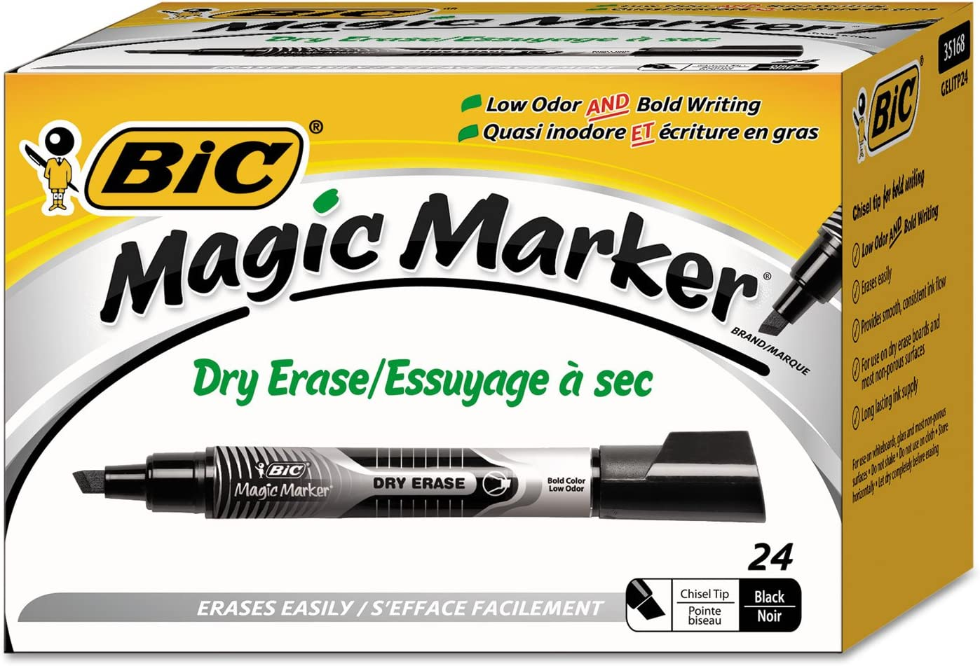 BIC Courier shipping free Max 86% OFF GELITP241BK Low Odor And Bold Marker Erase Dry Writing Chis