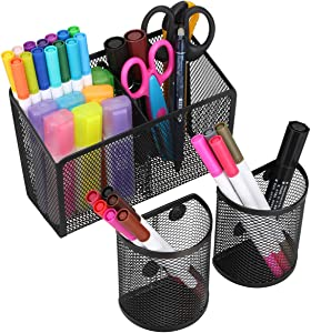 Magnetic Pencil Holder, Metal Strong Magnet Pen Cup, Magnetic Marker Storage Basket Organizer to Hold Whiteboard Refrigerator Fridge Locker Accessories