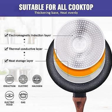 Allgetc Nonstick Cookware Pots and Pans Set, 16Pcs Kitchenware set with Frying Pan, Saucepan, Sauté Pan, Chef's Pan, PTFE