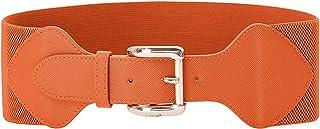 Women Elastic Stretchy Vintage Wide Waist Cinch Belt with Buckle