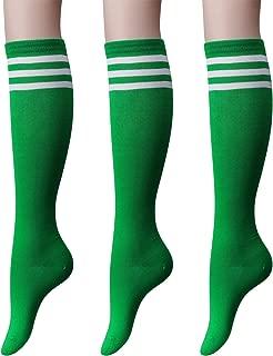 OSABASA Women's Cotton Knee High Socks - Triple Stripe Colors Fashion Socks 3 Pairs