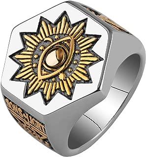 Men's Sun Devil Eyes hexagon Masonic band Stainless steel Freemason Totem Ring