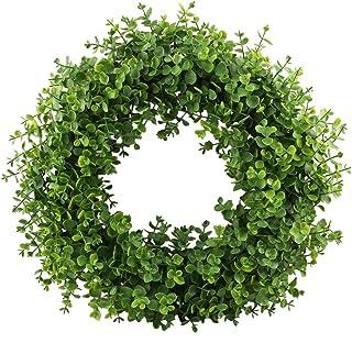 GTIDEA 16-17 inches Artificial Eucalyptus Wreath Spring Front Door Wreath Greenery Garland Home Office Wall Wedding Decor