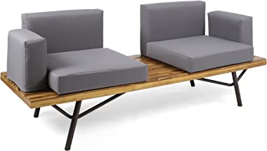 Christopher Knight Home 305076 Baish Outdoor Acacia Wood 2 Seater Sofa, Teak Finish/Dark Gray