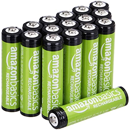 Amazon Basics - Pilas recargables AAA (paquete de 16), 800 mAh, precargadas
