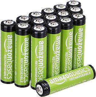 Amazon Basics Pacote com 16 pilhas AAA com capacidade de desempenho de 800 mAh recarregáveis, pré-carregadas, podem ser re...