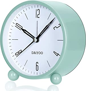 DAYOO Alarm Clock, 4 Inch Round Alarm Clock Non Ticking, Battery Operated and Light Function, Super Silent Alarm Clock, Simple Stylish Design for Desk/Bedroom (Green)