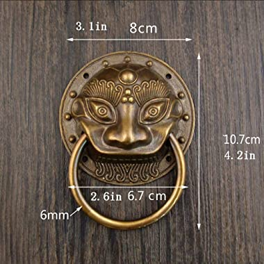 Classic Brass Door Knocker,Lion Head Door Fittings Animal Head Hardware Classical Decorative Manor Front Door patio-diameter8