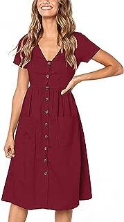 Angashion Women's Dresses-Short Sleeve V Neck Button T Shirt Midi Skater Dress with Pockets