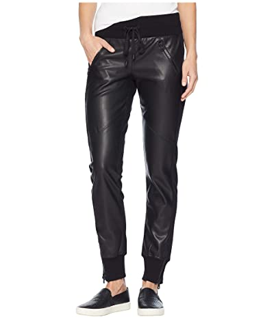 Blanc Noir Faux Leather Front Jogger (Black) Women