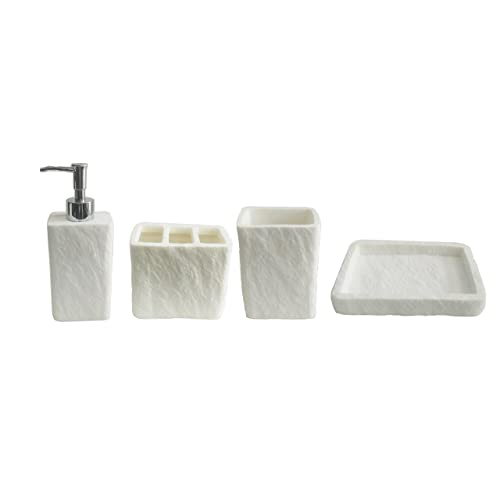 Aquieen Natural Stone Finish Polyresign 4 Pieces Bathroom Set-Liquid Soap Dispenser, Toothbrush Holder, Tumbler & Soap Dish Holder