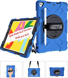 SUPFIVES iPad 7th Generation Case, New iPad 10.2 Case [Full-Body] & [Shock Proof] Hybrid Armor Protective Case with 360 Rotating Stand & Strap for 10.2 New iPad 7th Generation 2019 (Blue)