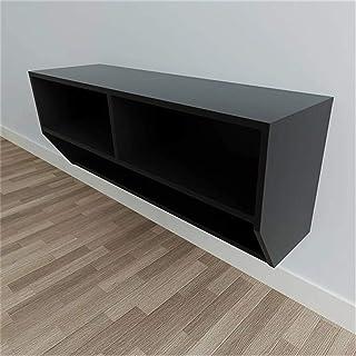 Lwieui Mesas para TV Gabinete de TV montado en Pared Negro Dwer-Tier Gadget de Almacenamiento Muebles de Sala de Estar Mue...