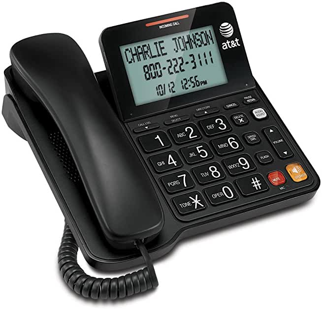 Speakerphone, Audio Assist Extra-Large Tilt Display, LCD Display, Hearing aid compatible Extra-Large Buttons, Extra-Loud Ringer. Table- and wall-mountable. Line power speakerphone. The telephone works without AC Power. For the Caller ID to function, four AA batteries (not included) are necessary.