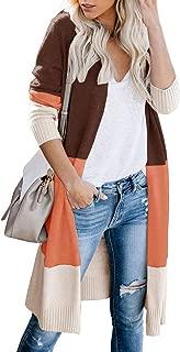 GinkgoTree Women's Striped Long Cardigan Color Block Print Coats Boho Front Open Lightweight Knit Sweaters