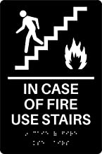in Case of Fire Use Stairs ADA Sign (Black)