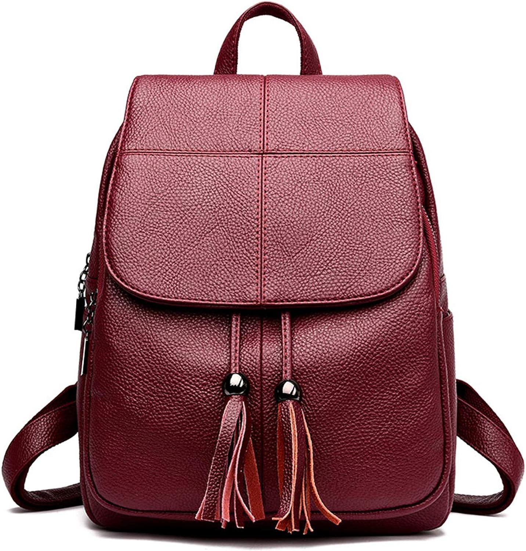e8a796899e18 Women Leather Female Shoulder Back Pack Ladies Large Capacity Travel ...