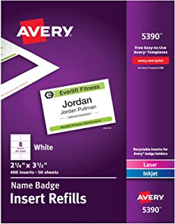 Avery Name Badge Inserts, Print or Write, 2-1/4 Inch x 3-1/2 Inch, 400 Card Stock Refills (5390), White