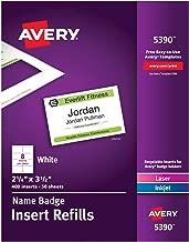 Avery Name Badge Inserts, Print or Write, 2-1/4