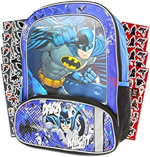 "Batman Backpack for Kids Boys -- Deluxe 16"" Batman Backpack with Lenticular Design and Stickers (Batman School Supplies)"